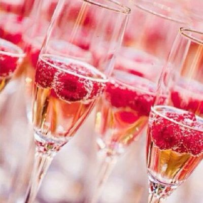 champagne-raspberries
